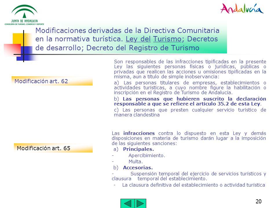 20 Modificaciones derivadas de la Directiva Comunitaria en la normativa turística. Ley del Turismo; Decretos de desarrollo; Decreto del Registro de Tu