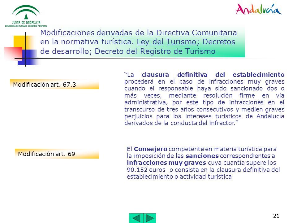 21 Modificaciones derivadas de la Directiva Comunitaria en la normativa turística. Ley del Turismo; Decretos de desarrollo; Decreto del Registro de Tu