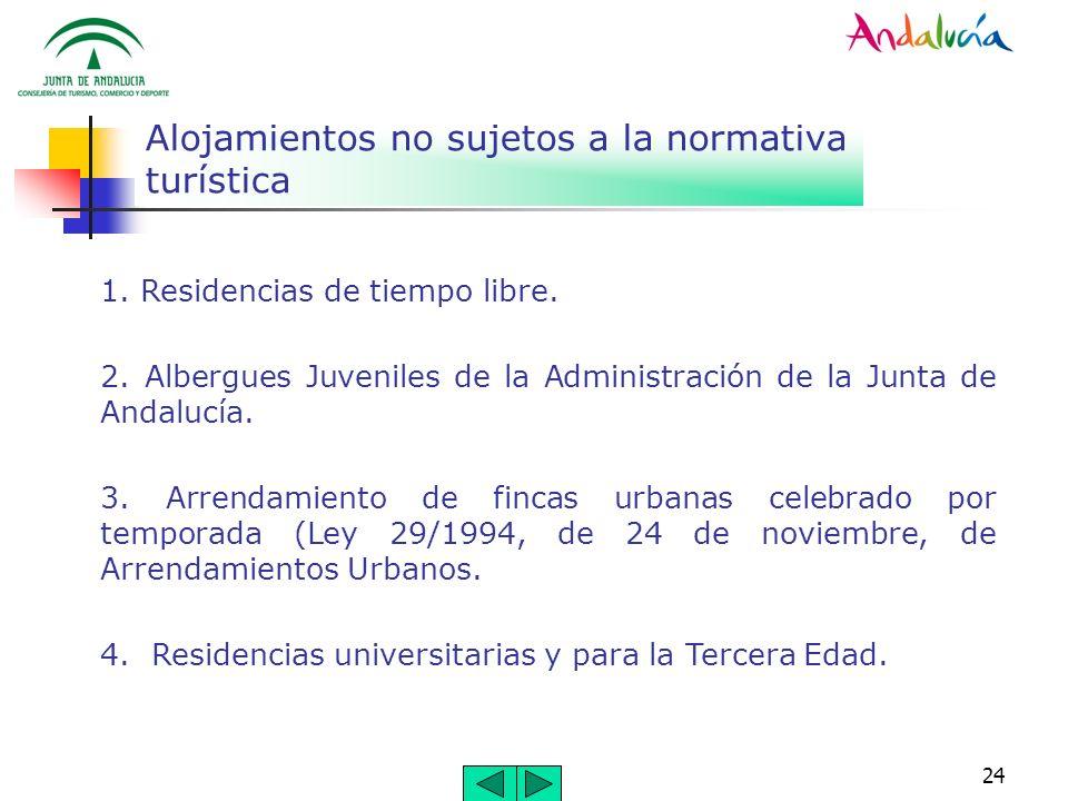 24 Alojamientos no sujetos a la normativa turística 1. Residencias de tiempo libre. 2. Albergues Juveniles de la Administración de la Junta de Andaluc