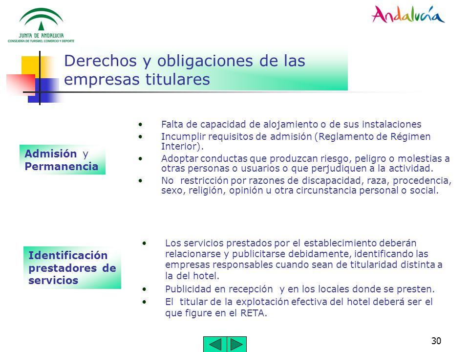 30 Derechos y obligaciones de las empresas titulares Admisión y Permanencia Falta de capacidad de alojamiento o de sus instalaciones Incumplir requisi