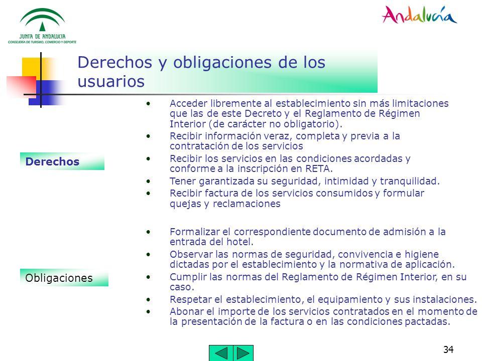 34 Derechos y obligaciones de los usuarios Derechos Acceder libremente al establecimiento sin más limitaciones que las de este Decreto y el Reglamento