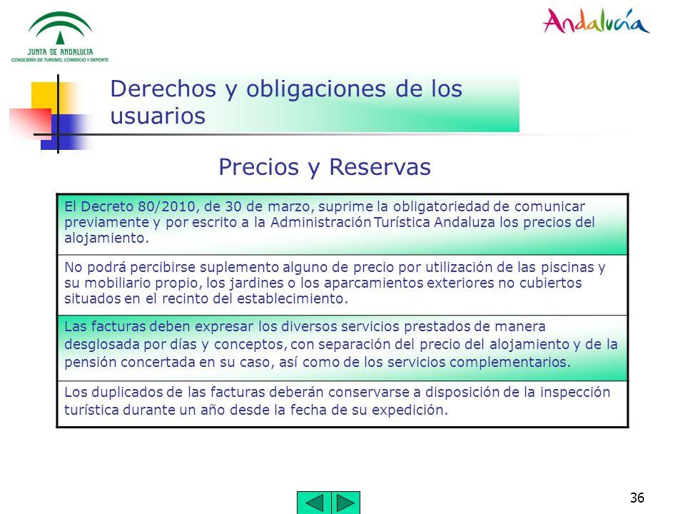 36 Derechos y obligaciones de los usuarios El Decreto 80/2010, de 30 de marzo, suprime la obligatoriedad de comunicar previamente y por escrito a la A