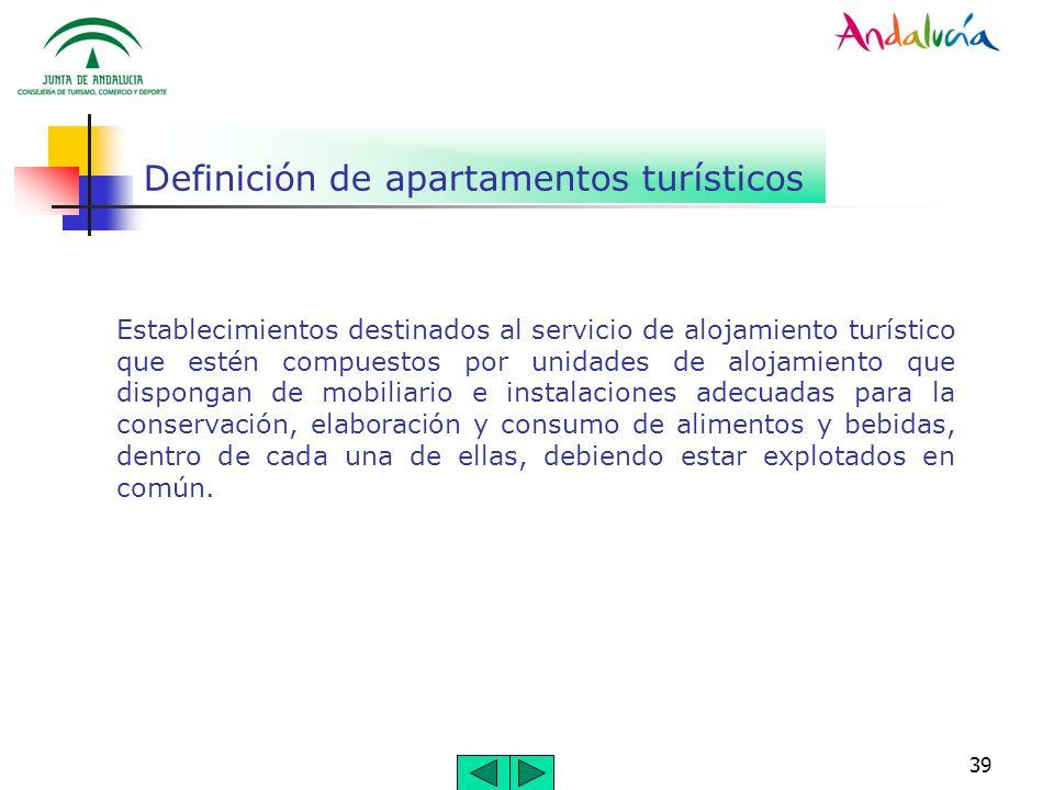 39 Definición de apartamentos turísticos Establecimientos destinados al servicio de alojamiento turístico que estén compuestos por unidades de alojami