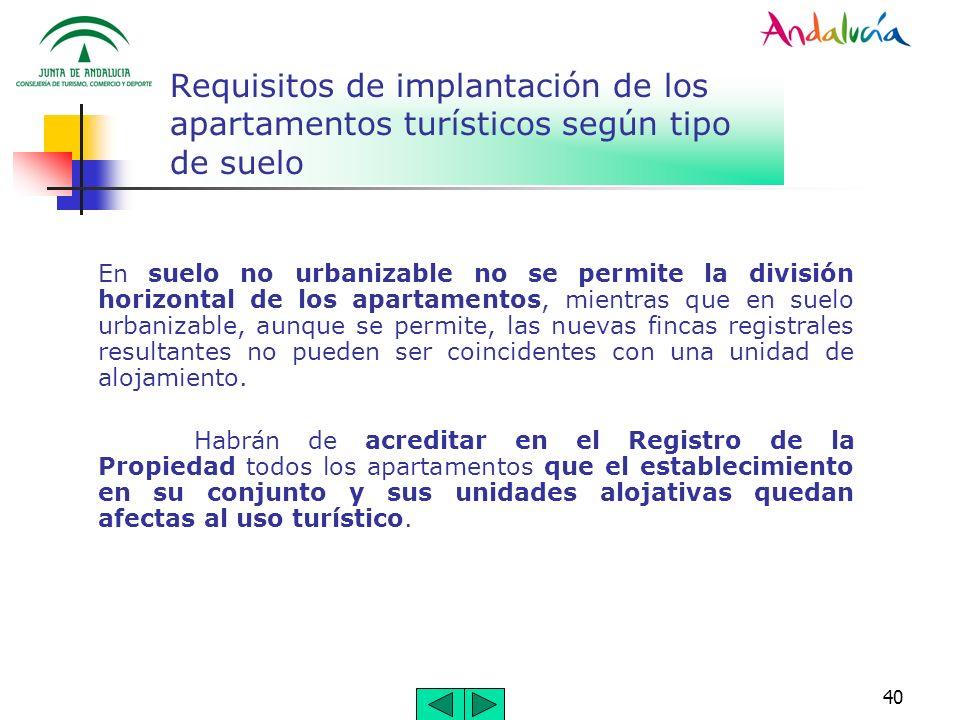 40 Requisitos de implantación de los apartamentos turísticos según tipo de suelo En suelo no urbanizable no se permite la división horizontal de los a