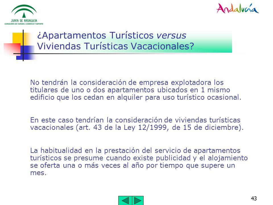 43 ¿Apartamentos Turísticos versus Viviendas Turísticas Vacacionales? No tendrán la consideración de empresa explotadora los titulares de uno o dos ap