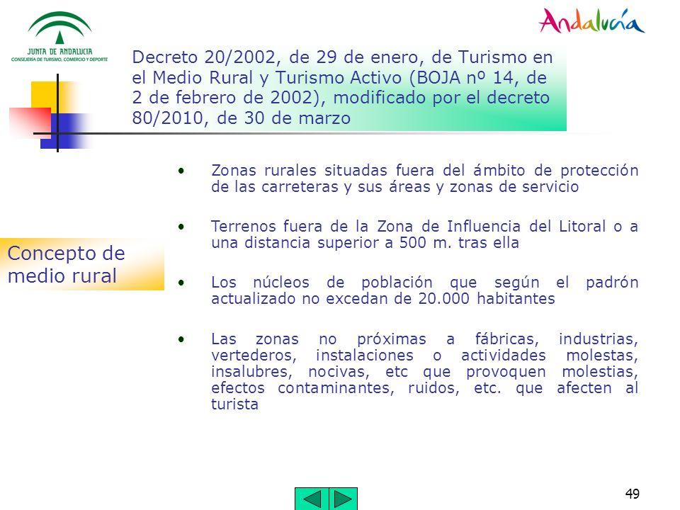 49 Decreto 20/2002, de 29 de enero, de Turismo en el Medio Rural y Turismo Activo (BOJA nº 14, de 2 de febrero de 2002), modificado por el decreto 80/