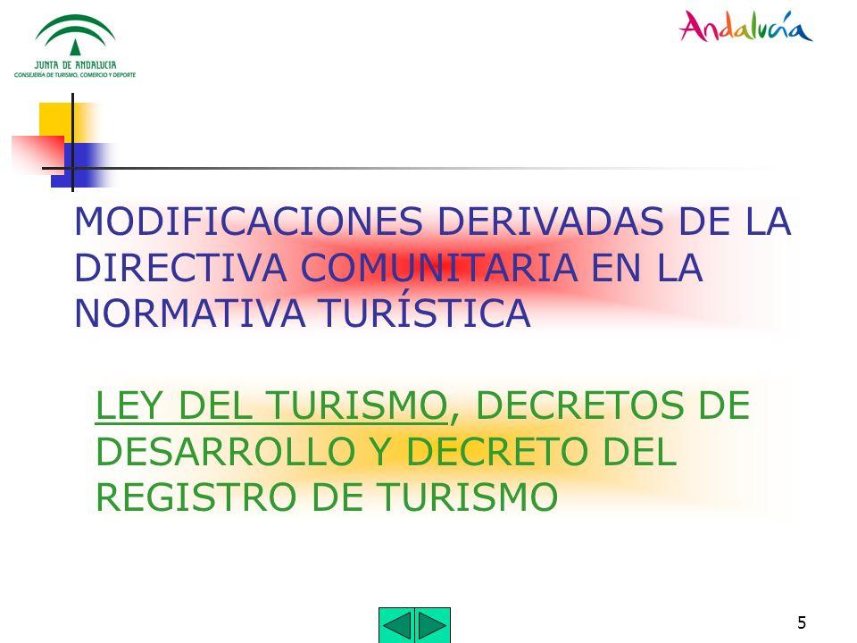 5 MODIFICACIONES DERIVADAS DE LA DIRECTIVA COMUNITARIA EN LA NORMATIVA TURÍSTICA LEY DEL TURISMO, DECRETOS DE DESARROLLO Y DECRETO DEL REGISTRO DE TUR