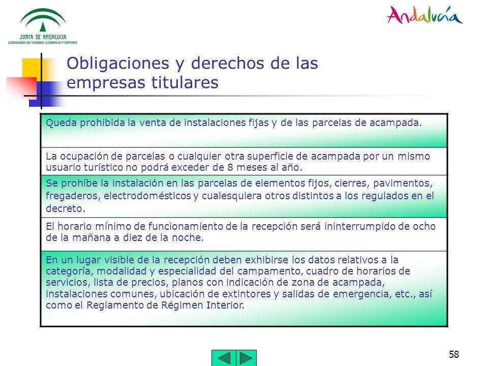 58 Obligaciones y derechos de las empresas titulares Queda prohibida la venta de instalaciones fijas y de las parcelas de acampada. La ocupación de pa