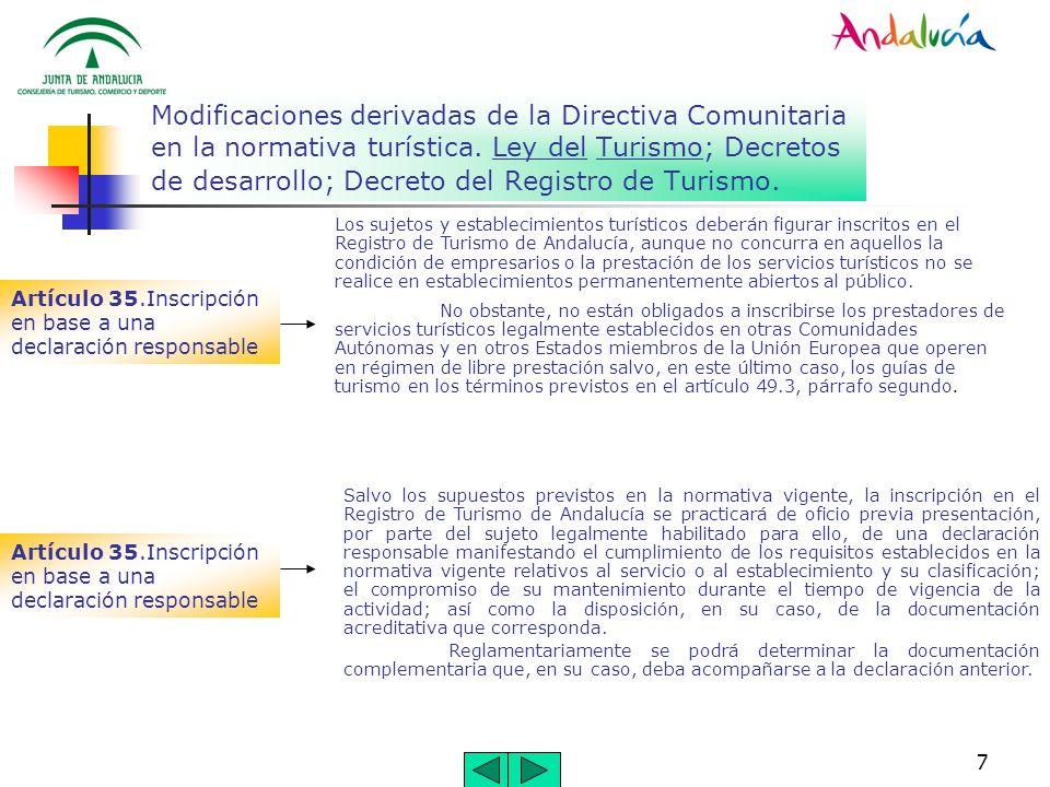 7 Modificaciones derivadas de la Directiva Comunitaria en la normativa turística. Ley del Turismo; Decretos de desarrollo; Decreto del Registro de Tur