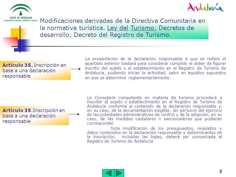 8 Modificaciones derivadas de la Directiva Comunitaria en la normativa turística. Ley del Turismo; Decretos de desarrollo; Decreto del Registro de Tur