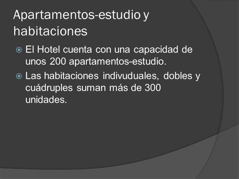 Apartamentos-estudio y habitaciones El Hotel cuenta con una capacidad de unos 200 apartamentos-estudio.