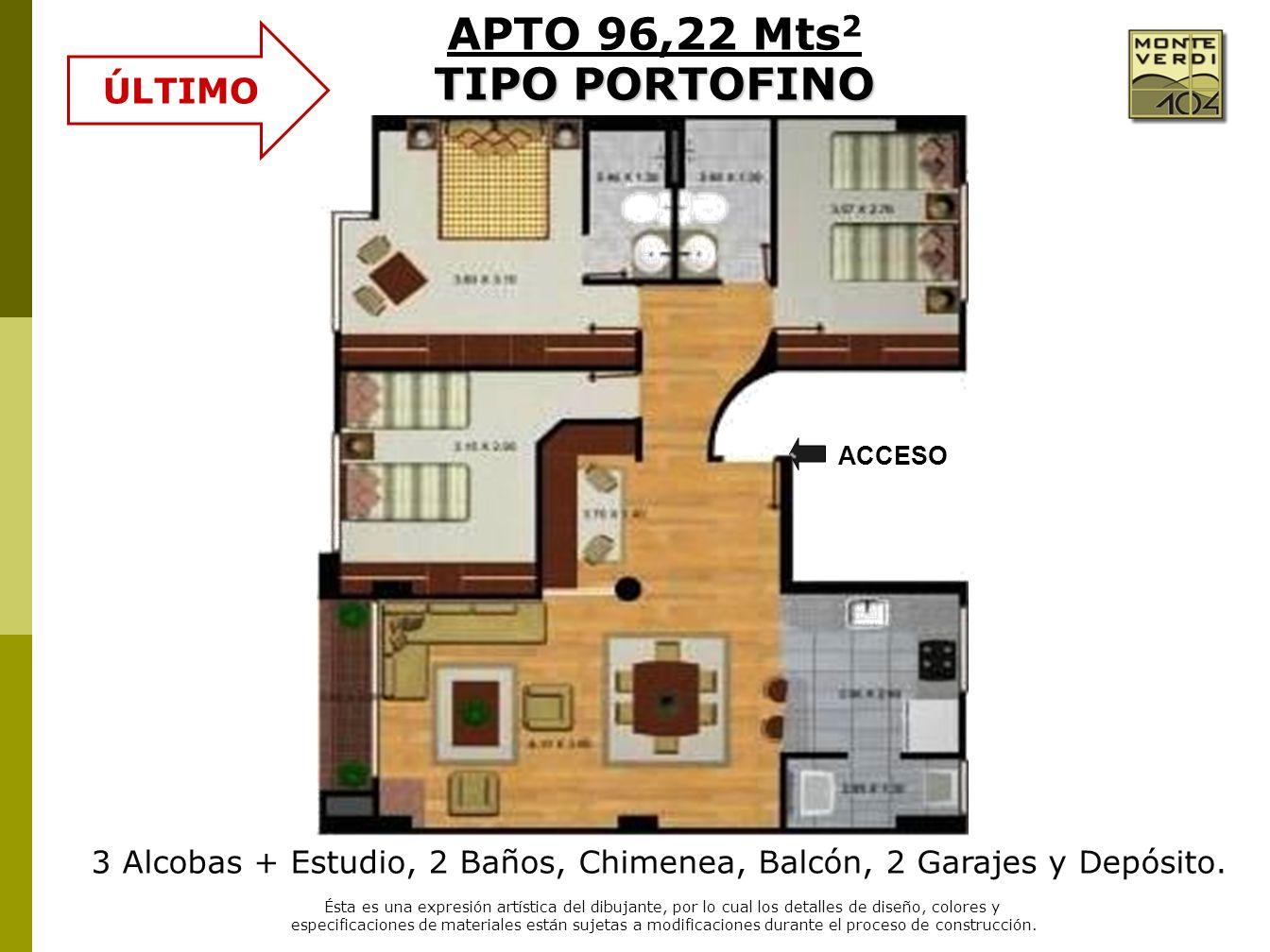 3 Alcobas + Estudio, 2 Baños, Chimenea, Balcón, 2 Garajes y Depósito. Ésta es una expresión artística del dibujante, por lo cual los detalles de diseñ