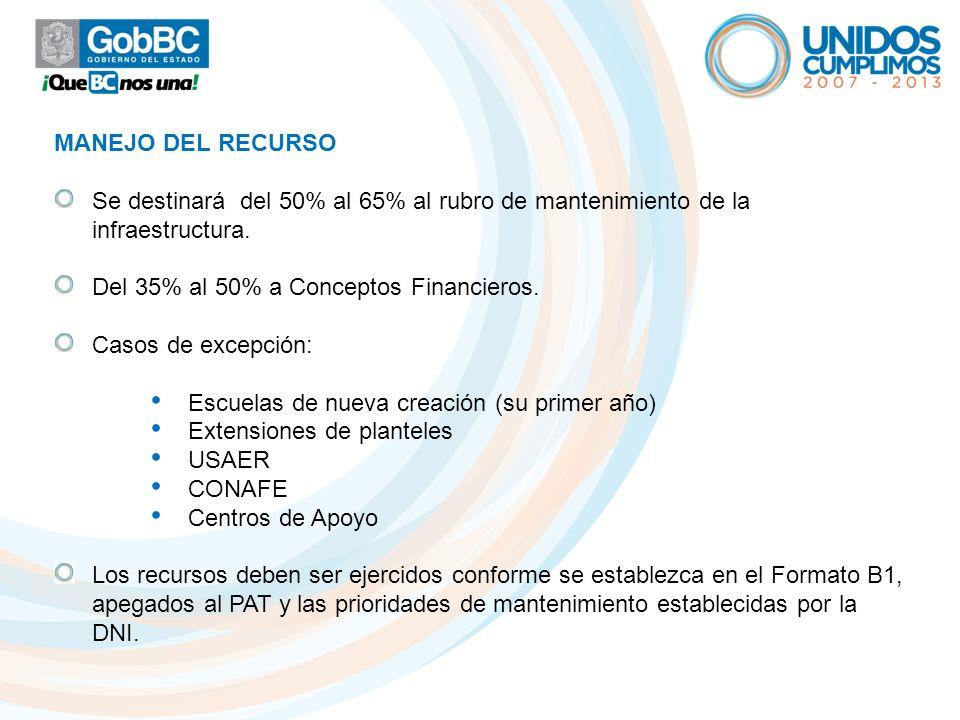 MANEJO DEL RECURSO Se destinará del 50% al 65% al rubro de mantenimiento de la infraestructura. Del 35% al 50% a Conceptos Financieros. Casos de excep
