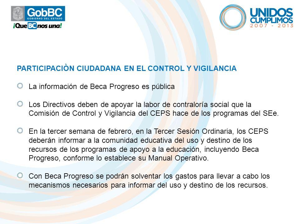 PARTICIPACIÒN CIUDADANA EN EL CONTROL Y VIGILANCIA La información de Beca Progreso es pública Los Directivos deben de apoyar la labor de contraloría s