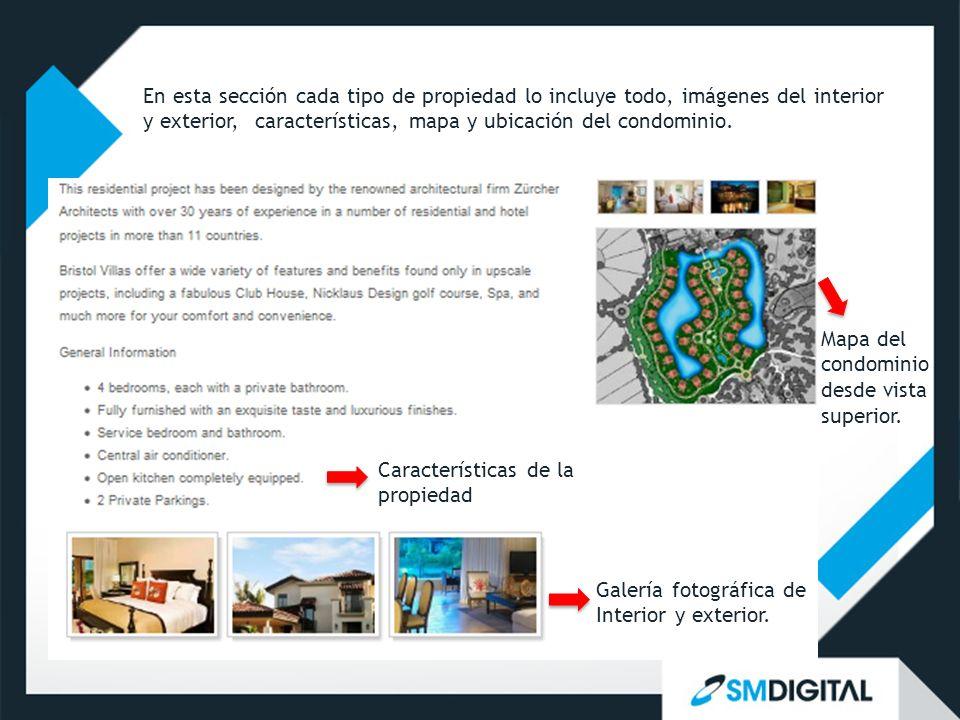 Mapa del condominio desde vista superior. Características de la propiedad Galería fotográfica de Interior y exterior. En esta sección cada tipo de pro