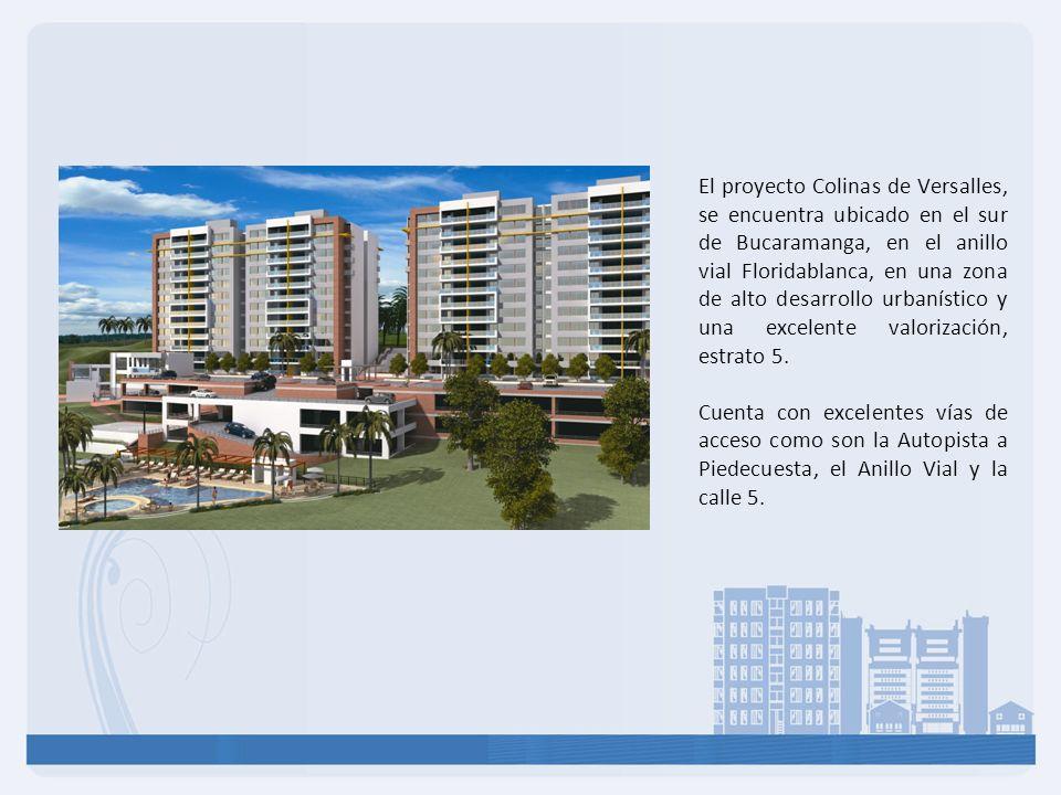 El proyecto Colinas de Versalles, se encuentra ubicado en el sur de Bucaramanga, en el anillo vial Floridablanca, en una zona de alto desarrollo urban