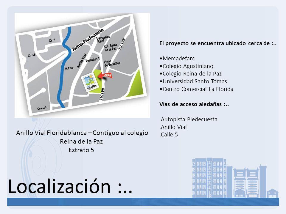Localización :.. Anillo Vial Floridablanca – Contiguo al colegio Reina de la Paz Estrato 5 El proyecto se encuentra ubicado cerca de :.. Mercadefam Co