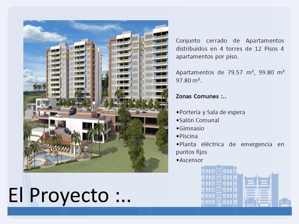 El Proyecto :.. Conjunto cerrado de Apartamentos distribuidos en 4 torres de 12 Pisos 4 apartamentos por piso. Apartamentos de 79.57 m², 99.80 m² 97.8