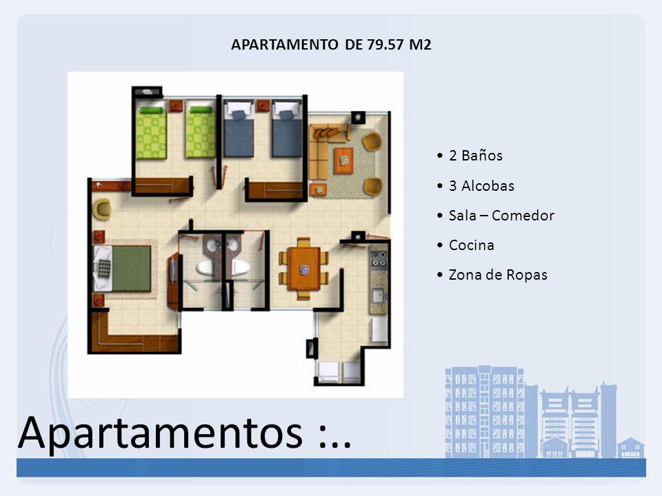Apartamentos :.. APARTAMENTO DE 79.57 M2 2 Baños 3 Alcobas Sala – Comedor Cocina Zona de Ropas