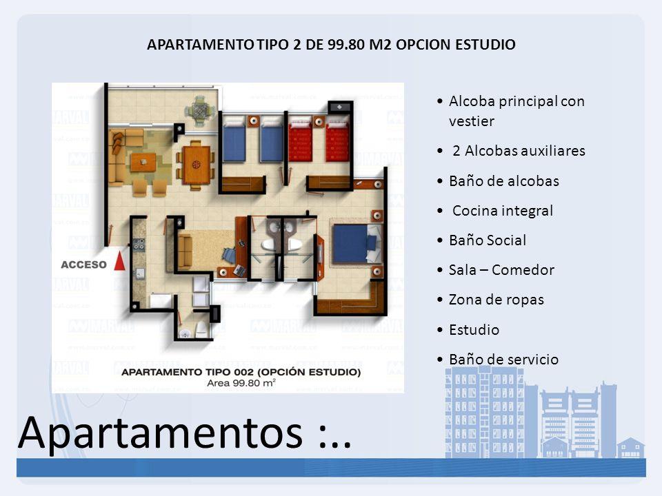 Apartamentos :.. APARTAMENTO TIPO 2 DE 99.80 M2 OPCION ESTUDIO Alcoba principal con vestier 2 Alcobas auxiliares Baño de alcobas Cocina integral Baño