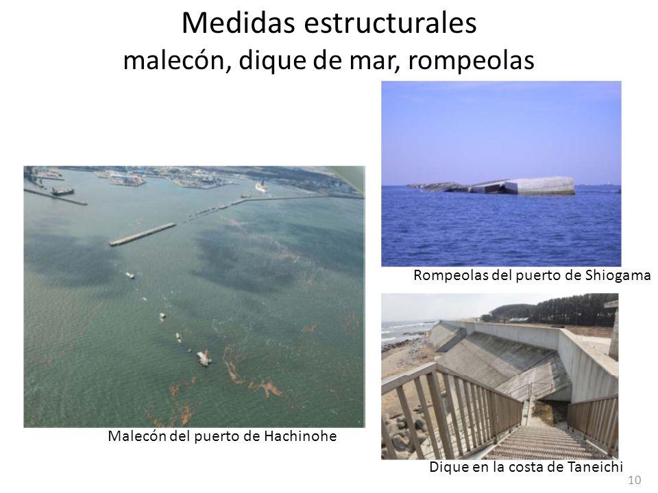 Medidas estructurales malecón, dique de mar, rompeolas Rompeolas del puerto de Shiogama Dique en la costa de Taneichi Malecón del puerto de Hachinohe
