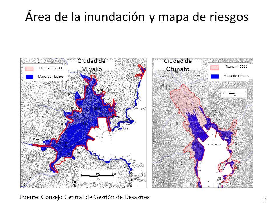 Área de la inundación y mapa de riesgos Fuente: Consejo Central de Gestión de Desastres TTsunami 2011 Mapa de riesgos Tsunami 2011 Mapa de riesgos Ciu