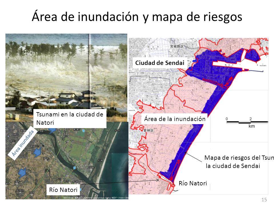 Mapa de riesgos del Tsunami en la ciudad de Sendai Río Natori Área inundada Tsunami en la ciudad de Natori Área de inundación y mapa de riesgos Área d