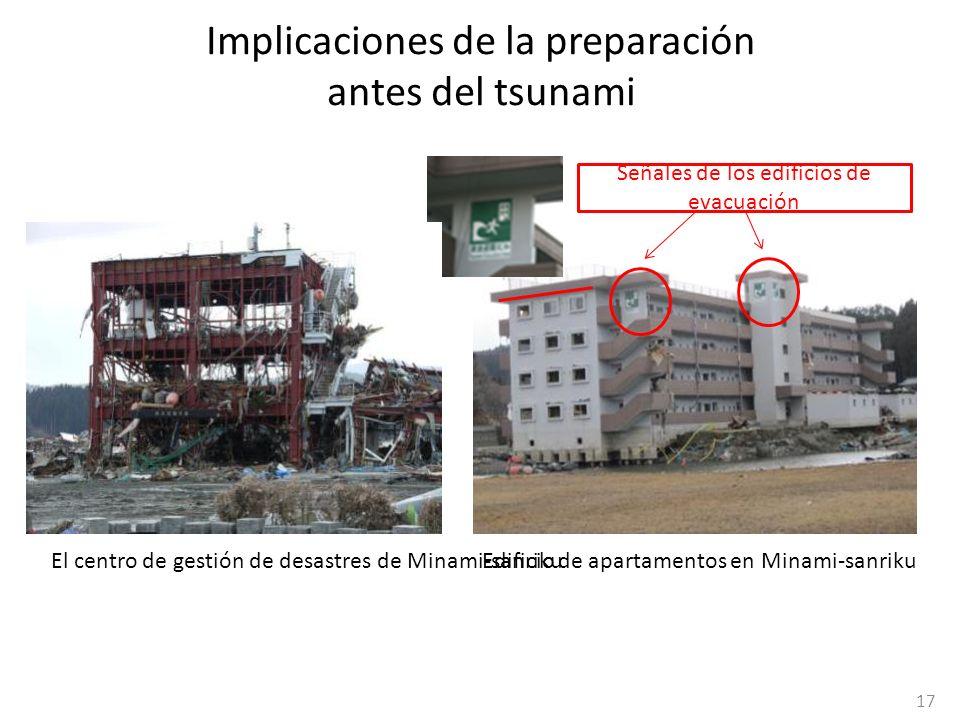 Implicaciones de la preparación antes del tsunami Señales de los edificios de evacuación Edificio de apartamentos en Minami-sanrikuEl centro de gestió