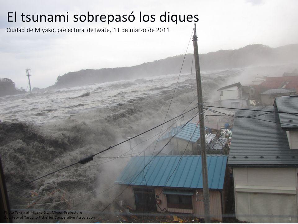 Photo Taken at Miyako City, Miyagi Prefecture Courtesy of Tarocho Fisheries Cooperative Association 4 El tsunami sobrepasó los diques Ciudad de Miyako