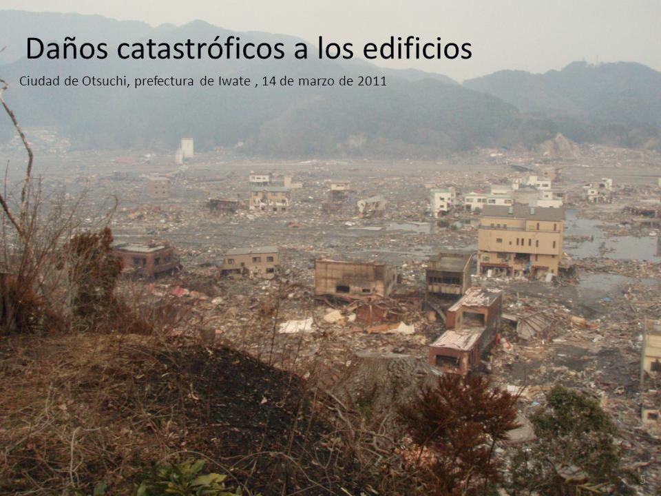 Daños catastróficos a los edificios Ciudad de Otsuchi, prefectura de Iwate, 14 de marzo de 2011 5