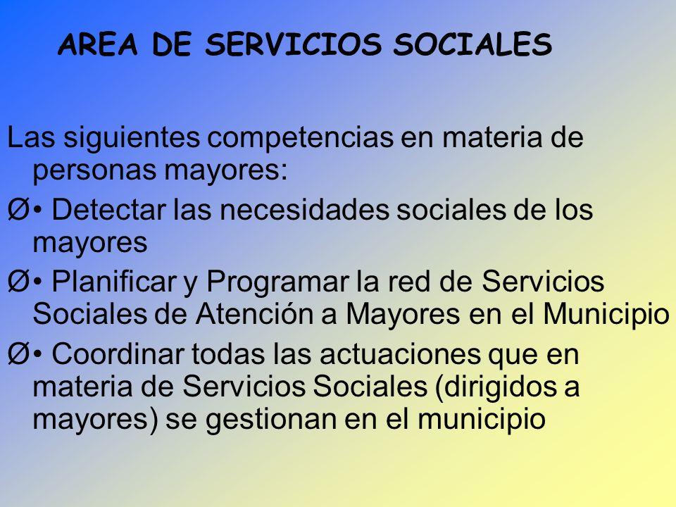 AREA DE SERVICIOS SOCIALES Las siguientes competencias en materia de personas mayores: Ø Detectar las necesidades sociales de los mayores Ø Planificar