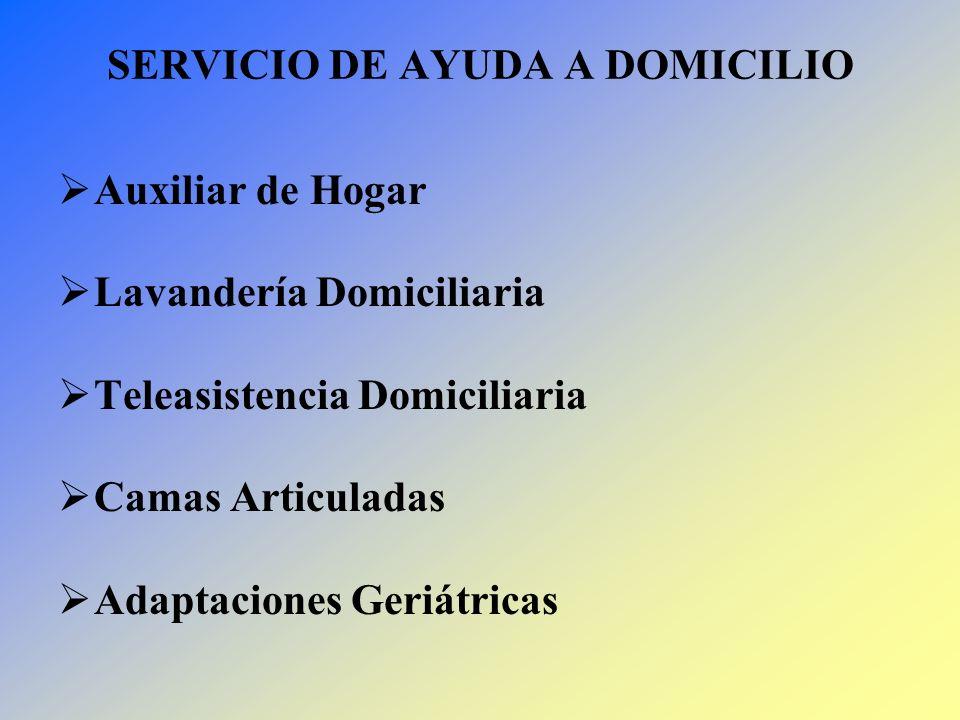 SERVICIO DE AYUDA A DOMICILIO Auxiliar de Hogar Lavandería Domiciliaria Teleasistencia Domiciliaria Camas Articuladas Adaptaciones Geriátricas