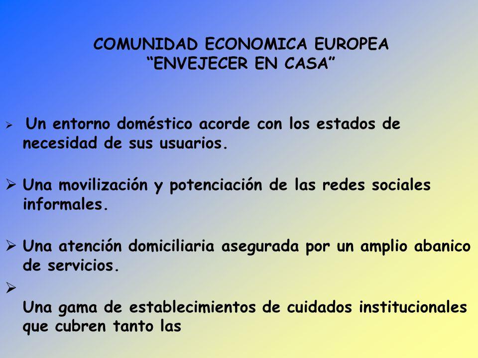 COMUNIDAD ECONOMICA EUROPEA ENVEJECER EN CASA Un entorno doméstico acorde con los estados de necesidad de sus usuarios. Una movilización y potenciació