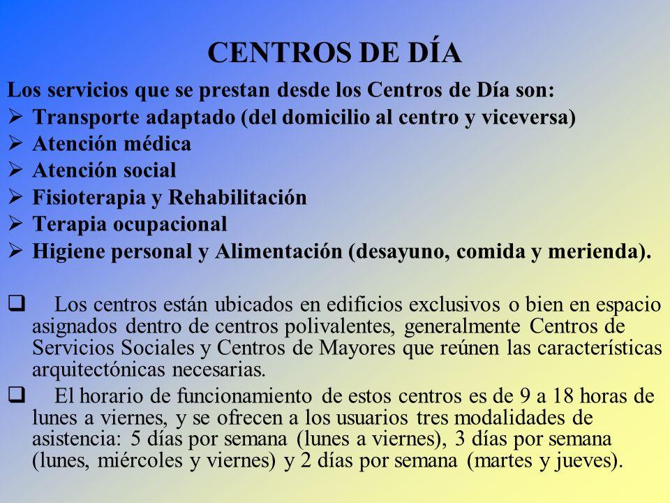 CENTROS DE DÍA Los servicios que se prestan desde los Centros de Día son: Transporte adaptado (del domicilio al centro y viceversa) Atención médica At