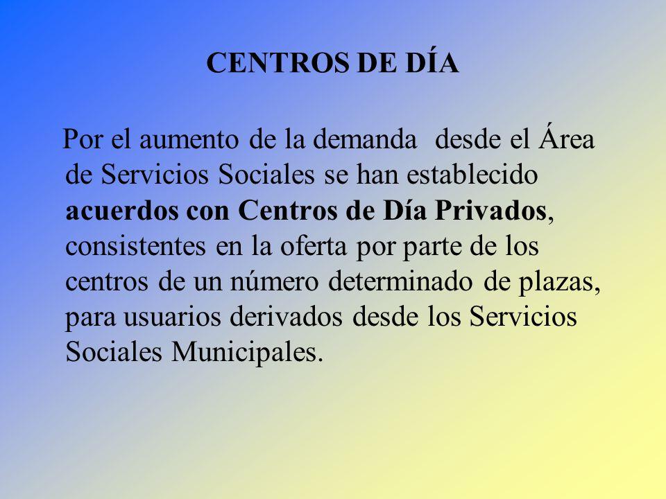 CENTROS DE DÍA Por el aumento de la demanda desde el Área de Servicios Sociales se han establecido acuerdos con Centros de Día Privados, consistentes