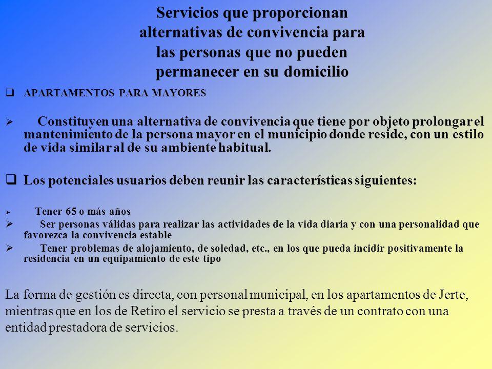 Servicios que proporcionan alternativas de convivencia para las personas que no pueden permanecer en su domicilio APARTAMENTOS PARA MAYORES Constituye