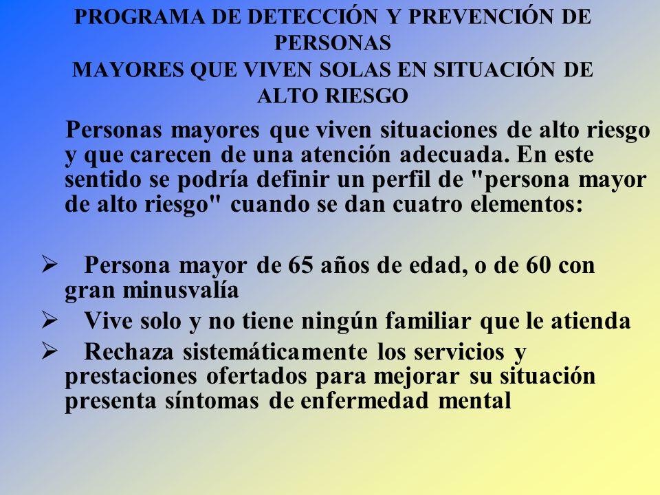 PROGRAMA DE DETECCIÓN Y PREVENCIÓN DE PERSONAS MAYORES QUE VIVEN SOLAS EN SITUACIÓN DE ALTO RIESGO Personas mayores que viven situaciones de alto ries