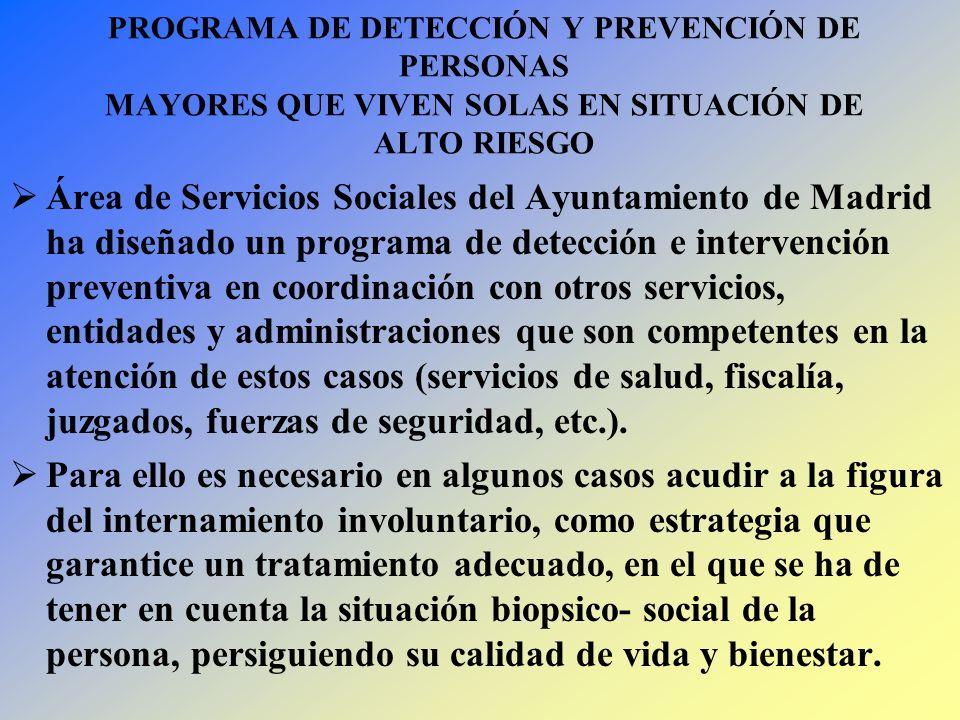 PROGRAMA DE DETECCIÓN Y PREVENCIÓN DE PERSONAS MAYORES QUE VIVEN SOLAS EN SITUACIÓN DE ALTO RIESGO Área de Servicios Sociales del Ayuntamiento de Madr