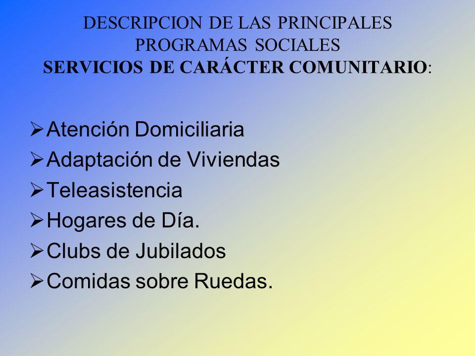 DESCRIPCION DE LAS PRINCIPALES PROGRAMAS SOCIALES SERVICIOS DE CARÁCTER COMUNITARIO: Atención Domiciliaria Adaptación de Viviendas Teleasistencia Hoga