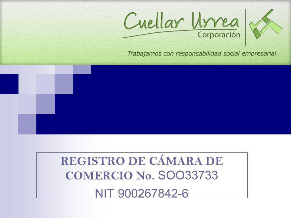 REGISTRO DE CÁMARA DE COMERCIO No. SOO33733 NIT 900267842-6