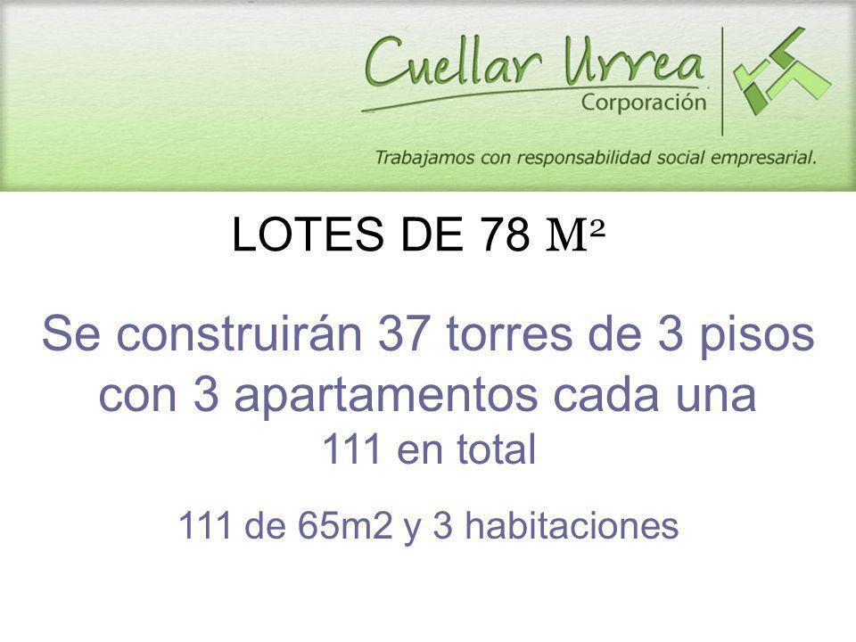 Se construirán 37 torres de 3 pisos con 3 apartamentos cada una 111 en total 111 de 65m2 y 3 habitaciones