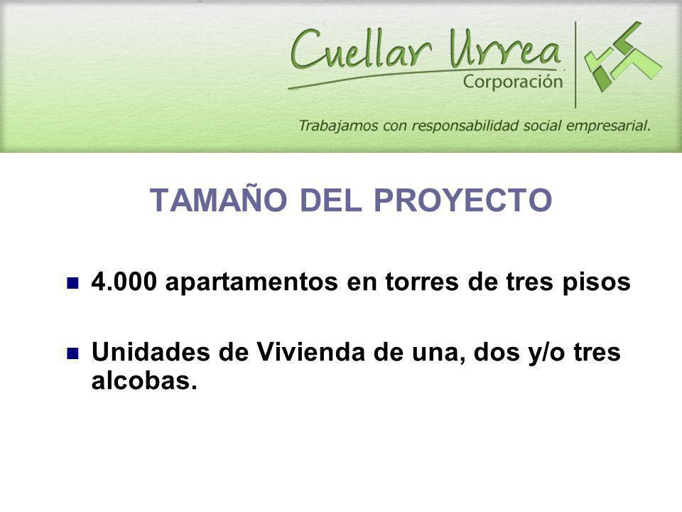TAMAÑO DEL PROYECTO 4.000 apartamentos en torres de tres pisos Unidades de Vivienda de una, dos y/o tres alcobas.