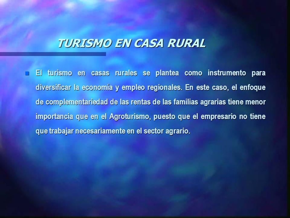 TURISMO EN CASA RURAL n El turismo en casas rurales se plantea como instrumento para diversificar la economía y empleo regionales. En este caso, el en