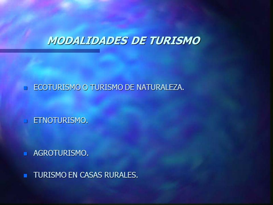 MODALIDADES DE TURISMO n ECOTURISMO O TURISMO DE NATURALEZA. n ETNOTURISMO. n AGROTURISMO. n TURISMO EN CASAS RURALES.