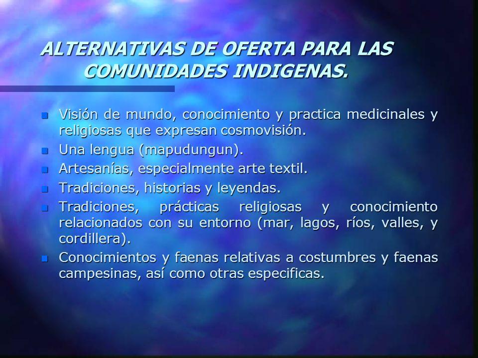 ALTERNATIVAS DE OFERTA PARA LAS COMUNIDADES INDIGENAS. n Visión de mundo, conocimiento y practica medicinales y religiosas que expresan cosmovisión. n