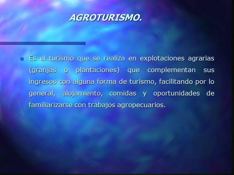 AGROTURISMO. n Es el turismo que se realiza en explotaciones agrarias (granjas o plantaciones) que complementan sus ingresos con alguna forma de turis