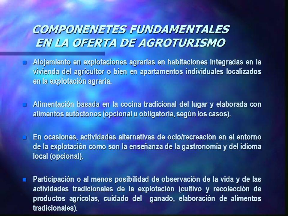 COMPONENETES FUNDAMENTALES EN LA OFERTA DE AGROTURISMO n Alojamiento en explotaciones agrarias en habitaciones integradas en la vivienda del agriculto