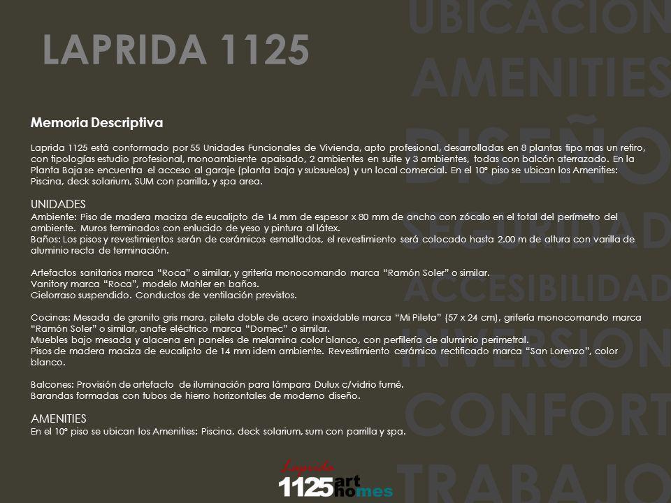 UBICACION AMENITIES DISEÑO SEGURIDAD ACCESIBILIDAD INVERSION CONFORT TRABAJO Memoria Descriptiva Laprida 1125 está conformado por 55 Unidades Funciona