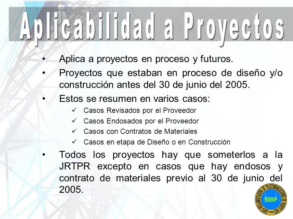Aplica a proyectos en proceso y futuros. Proyectos que estaban en proceso de diseño y/o construcción antes del 30 de junio del 2005. Estos se resumen
