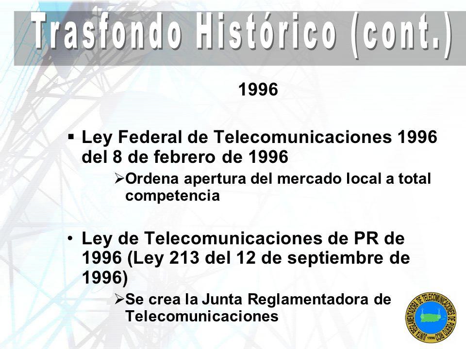 Después 1996 Se abre la competencia en el mercado local de telecomunicaciones Lambda (Centennial) Otros Revendedores Compañías Teléfonos Públicos Venta de Puerto Rico Telephone – Marzo 1999 GTE + Bell Atlantic = Verizon Reglamento 3 - Lotificación y Urbanización Anterior - Tópico 15- Telecomunicaciones Servidumbre a entidad autorizada a ofrecer el servicio Nuevo Reglamento 3, 30 de junio de 2005 Sección 19- Telecomunicaciones Servidumbre a JRT Reglamento Provisional de Endosos de la JRT Servicio de Telecomunicaciones es uno esencial, no opcional Estadísticas Vitales